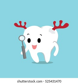 Vector of cute tooth wearing the reindeer horn