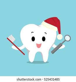 Vector of cute tooth wearing the santa hat