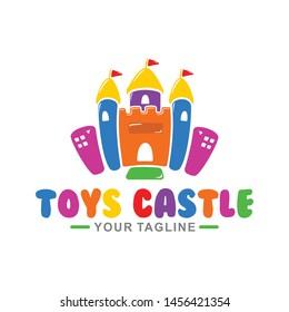 Vector cute toys castle logo for kids toys shop. Kids town logo.