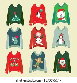 vector cute ugly christmas sweaters set sweater party collection for invitation