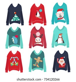 vector cute ugly christmas sweaters set sweater party collection for invitations