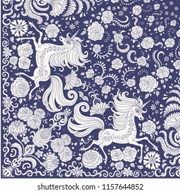 Vector cute unicorn beige print on a dark blue background. Floral fantasy pattern, hand drawn flowers, leaves. Quarter scarf, to get the whole shawl should be rotated around the upper right corner