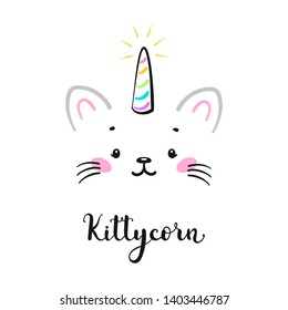 Vector Cute Unicorn Cat Head  for Kids t-shirt Print Design and Birthday Party. Magic Caticorn or Kittycorn Nursery Poster. Magical Kitten Face with Unicorn Horn