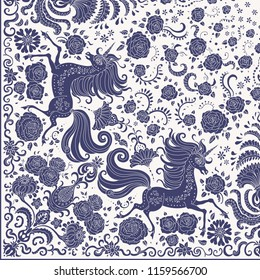 Vector cute unicorn dark blue print on a beige background. Floral fantasy pattern, hand drawn flowers, leaves. Quarter scarf, to get the whole shawl should be rotated around the upper right corner
