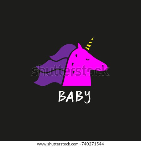 069a51b8f8b Vector Cute Unicorn Inscription Baby Label Stock Vector Royalty