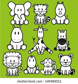 Vector Cute Wild Animals set