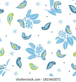 Vector cute winter berry bird pattern. Hand drawn folk art style design with bird, plant and snow flake in blue tones. All over print. Perfect for christmas season and winter holiday.