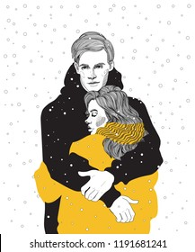 vector cute young couple in bright down jackets hugs under a snowfall, a meeting, warming hugs