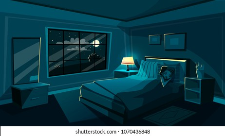 Vector cute young woman sleeping in bedroom at night, cartoon interior. Happy beautiful female character dreaming in cozy room bed with night sky star, moon from big window with soft lamp light.