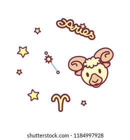 vector cute Zodiac sign: aries constellation