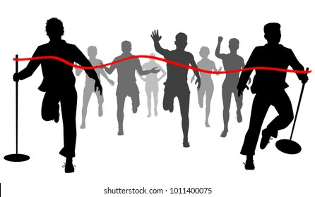 Vector cutout illustration of two men moving the finishing line away from the runners