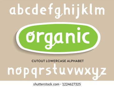 Vector cutout lowercase alphabet for bio packaging, organic production.