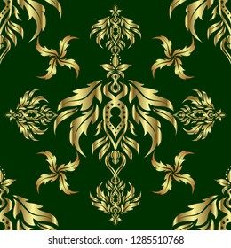 Vector cutout paper lace texture, multicolor tulle on a green background, swirly seamless pattern.