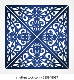 Vector cutout pattern in Eastern style on scroll work background. Ornate element for design. Ornamental pattern for wedding invitations, greeting cards. Laser cut elements design. Cutting file.
