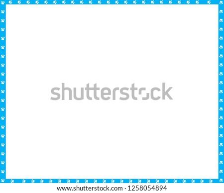 Vector Cyan Blue White Rectangle Border Stock Vector