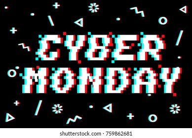 Vector Cyber monday 8-bit pixel art style banner. Text with glitch effect. Memphis glitch decor. Black background