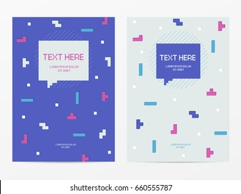 Vector cyber Tetris figure abstract background design. Modern template for banner, flyer, card, invitations, brochure and poster techno pixel element