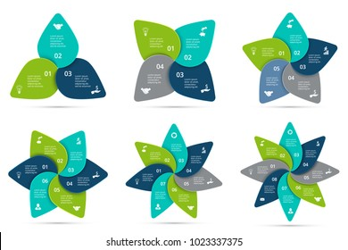 Vector cycle infographics set. Template for diagram, graph, presentation and chart. Business concept with 3, 4, 5, 6, 7 and 8 options, parts, steps or processes. Data visualization.