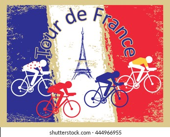 "Vector cycling illustration - abstract figure of cyclist on a bike and France national flag. Grunge background with signature ""Tour de France"" ""Race around France"". Old style vintage postcard template"