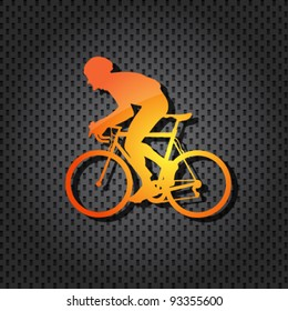 vector cyclist orange icon on textured background