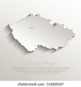 vector Czech map natural paper 3D