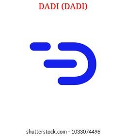 Vector DADI (DADI) digital cryptocurrency logo. DADI (DADI) icon. Vector illustration isolated on white background.