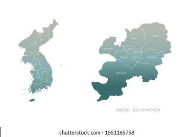 vector of daegu in korea map.