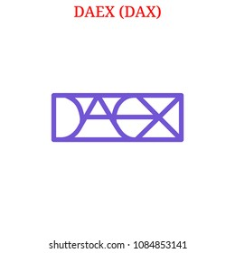 Vector DAEX (DAX) digital cryptocurrency logo. DAEX (DAX) icon. Vector illustration isolated on white background.