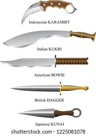 Vector - Dagger And Blades Including Kukri , Karambit And Kunai