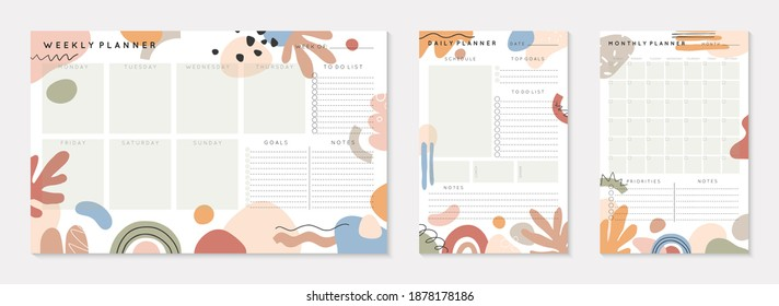 Vector daily,weekly,monthly planners templates with abstract organic shapes and doodles in neutral earthy tones.Organizer and schedule with place for notes; goals and to do list.Abstract modern design