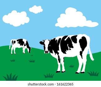 Vector of dairy cattle in grassland