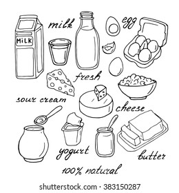 Vector dairy products: milk, cheese, butter, yogurt, cheese, sour cream, eggs. Healthy food set. Breakfast. Hand drawn illustration.