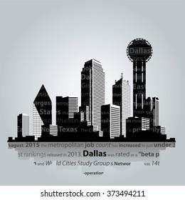 Vector. Dallas city silhouette.