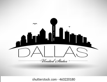 Vector Dallas City Skyline Design