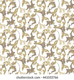 Vector damask pattern ornament. Exquisite Baroque element template. Classical luxury fashioned damask ornament, Royal Victorian texture for wallpapers, textile, wrapping. Gold color pattern