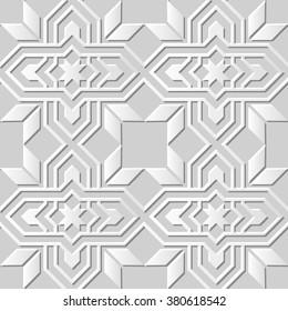 Vector damask seamless 3D paper art pattern background 020 Star Cross Frame