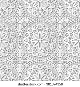 Vector damask seamless 3D paper art pattern background 136 Round Dot Flower Lace