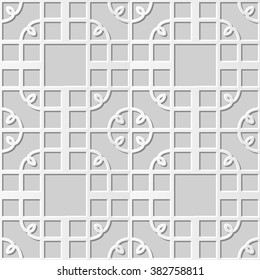 Vector damask seamless 3D paper art pattern background 290 Spiral Corner Square Cross