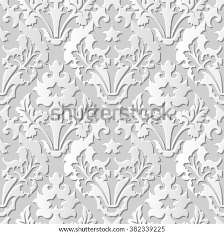 Vector Damask Seamless 3 D Paper Art Royalty Free Stock Image