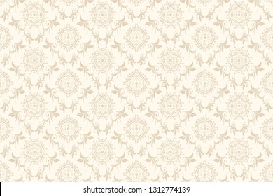 Vector damask seamless floral ornament on background. Floral ornament on background. Elegant texture for wallpapers and backgrounds. Wallpaper pattern. Vector illustration