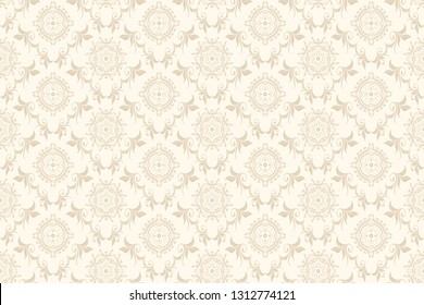 Vector damask seamless ornament on background. Floral ornament on background. Elegant texture for wallpapers and backgrounds. Wallpaper pattern. Vector illustration