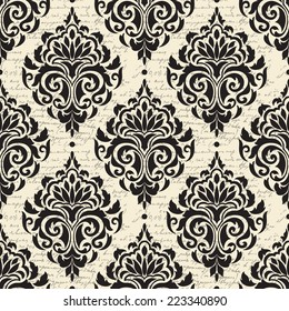Vector damask seamless pattern background. With abstract handwritings on the background. Elegant luxury texture for wallpapers, backgrounds and page fill.