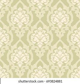 Vektordämpfe, nahtloser Musterhintergrund. Klassische Luxus altmodische Damast-Ornament, königliche viktorianische nahtlose Textur für Tapeten, Textilien, Umhüllung. Exquisite florale barocke Vorlage.