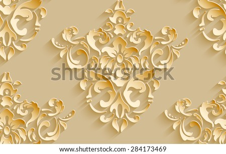 Vector damask seamless pattern background. Elegant luxury texture for wallpapers, backgrounds and page fill