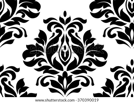 Vector Damask Seamless Pattern Background Classical Stock Vector