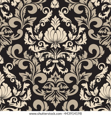 Vector Damask Seamless Pattern Element Classical Stock Vector