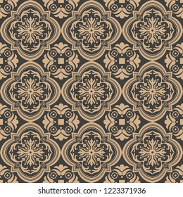 Vector damask seamless retro pattern background curve cross spiral leaf flower frame vine. Elegant luxury brown tone design for wallpapers, backdrops and page fill.