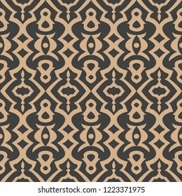 Vector damask seamless retro pattern background aboriginal geoemtry curve cross frame kaleidoscope. Elegant luxury brown tone design for wallpapers, backdrops and page fill.