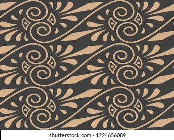Vector damask seamless retro pattern background spiral vortex cross aboriginal frame vine leaf. Elegant luxury brown tone design for wallpapers, backdrops and page fill.