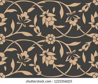 Vector damask seamless retro pattern background botanic garden spiral curve cross frame vine leaf flower. Elegant luxury brown tone design for wallpapers, backdrops and page fill.